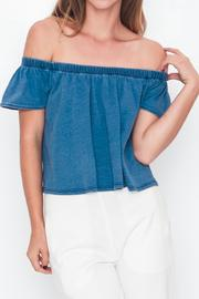 Movint Off-Shoulder Denim T-Shirt - Front cropped