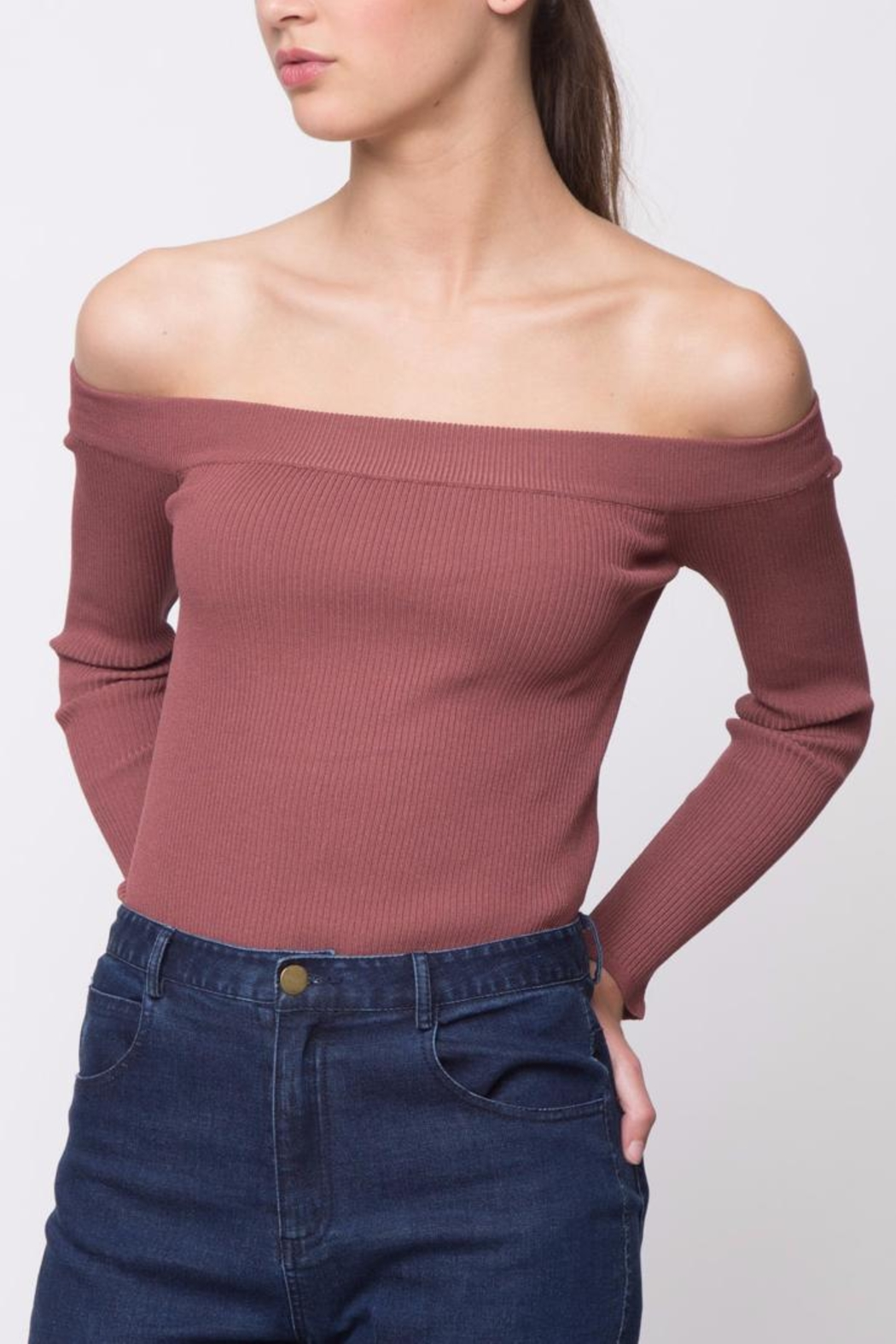 Movint Off-The-Shoulder Sweater - Front Cropped Image