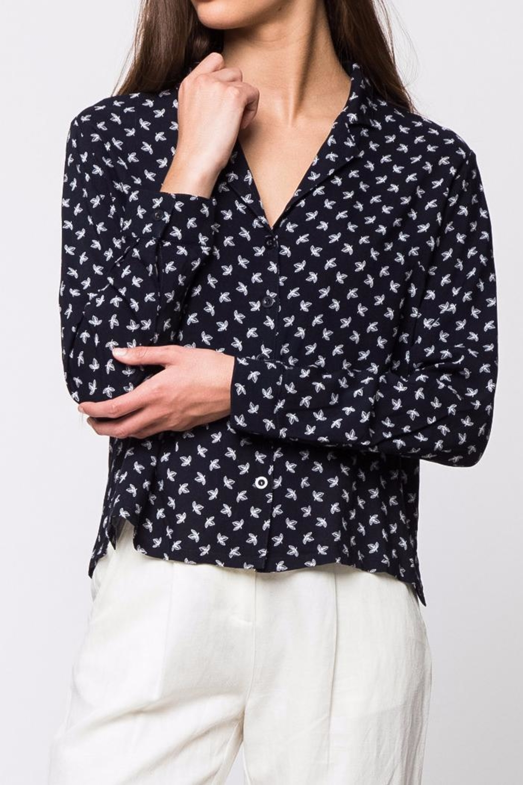 Movint Oversize Button Down Shirt - Back Cropped Image
