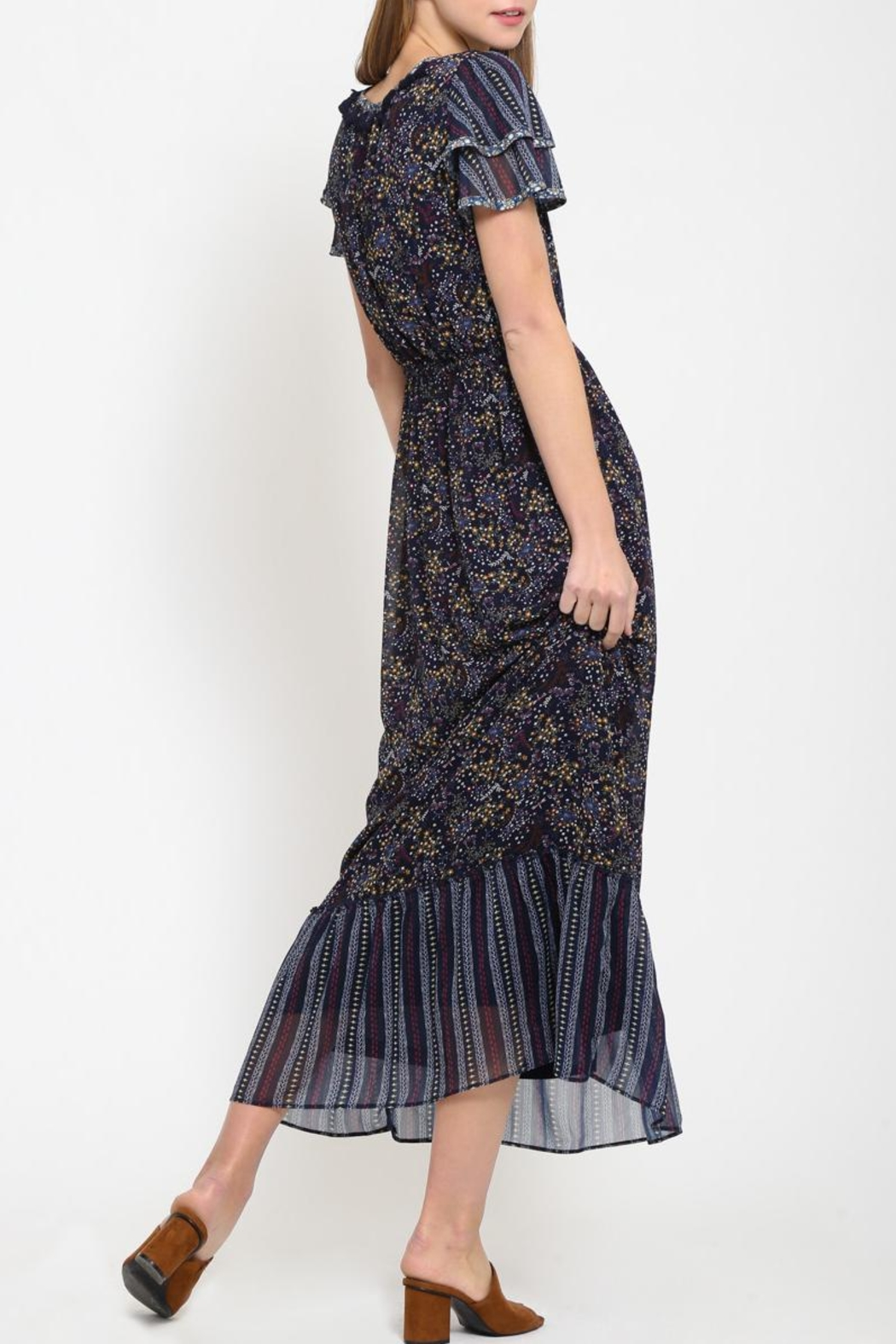 Movint Peasant Contrast Dress - Side Cropped Image