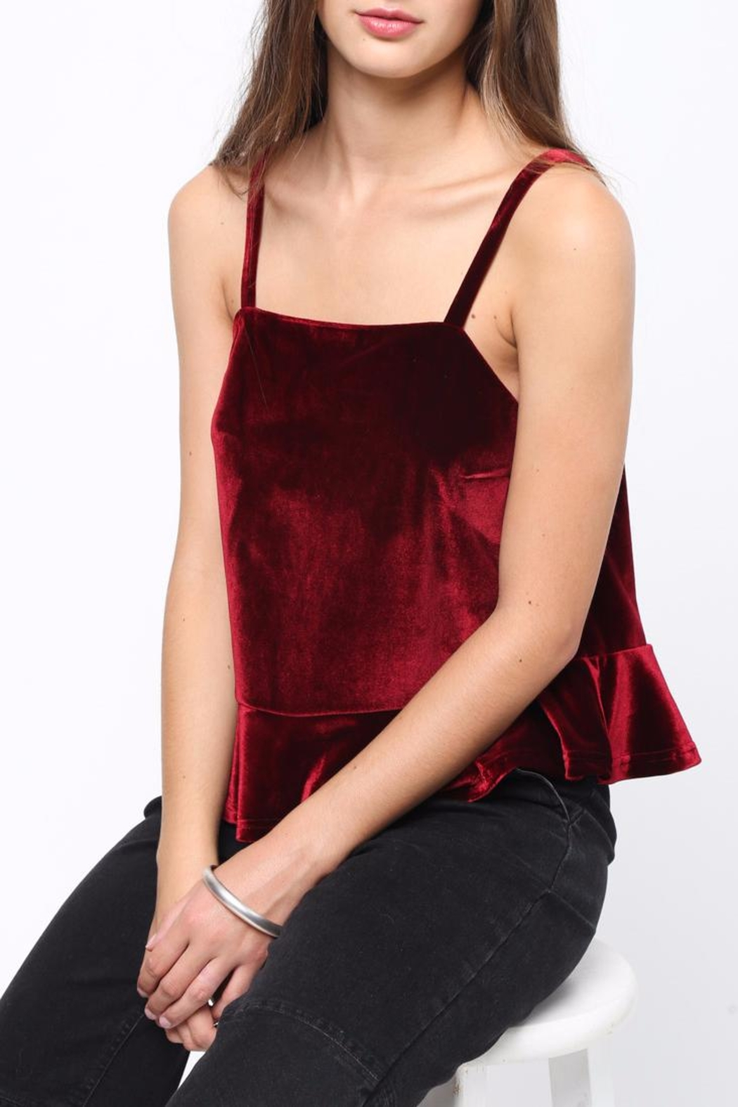 Movint Peplum Velvet Cami - Back Cropped Image