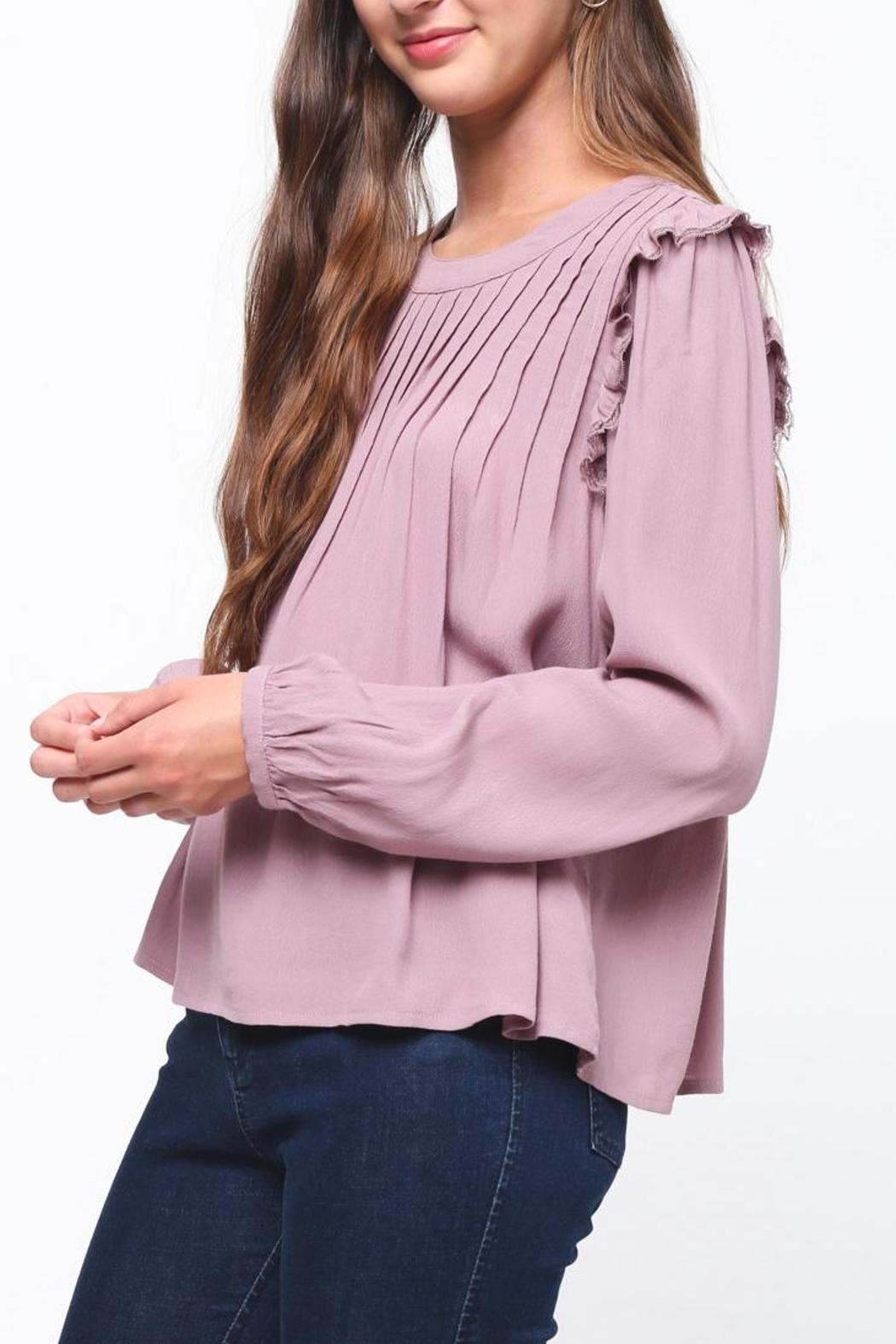 Movint Pintuck Ruffle Top - Front Full Image
