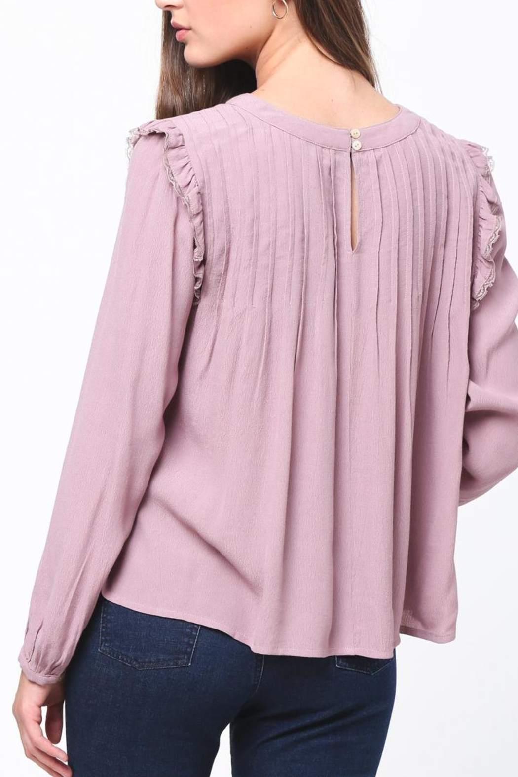 Movint Pintuck Ruffle Top - Side Cropped Image