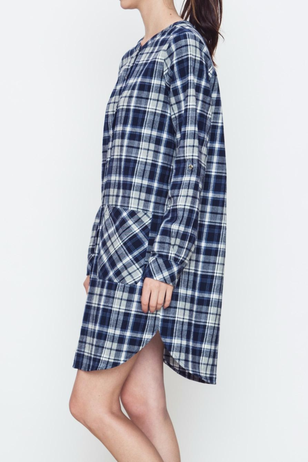 Movint Plaid Buttoned Dress - Front Full Image