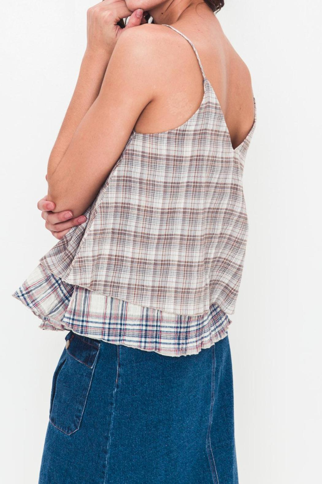 Movint Plaid Layered Top - Side Cropped Image