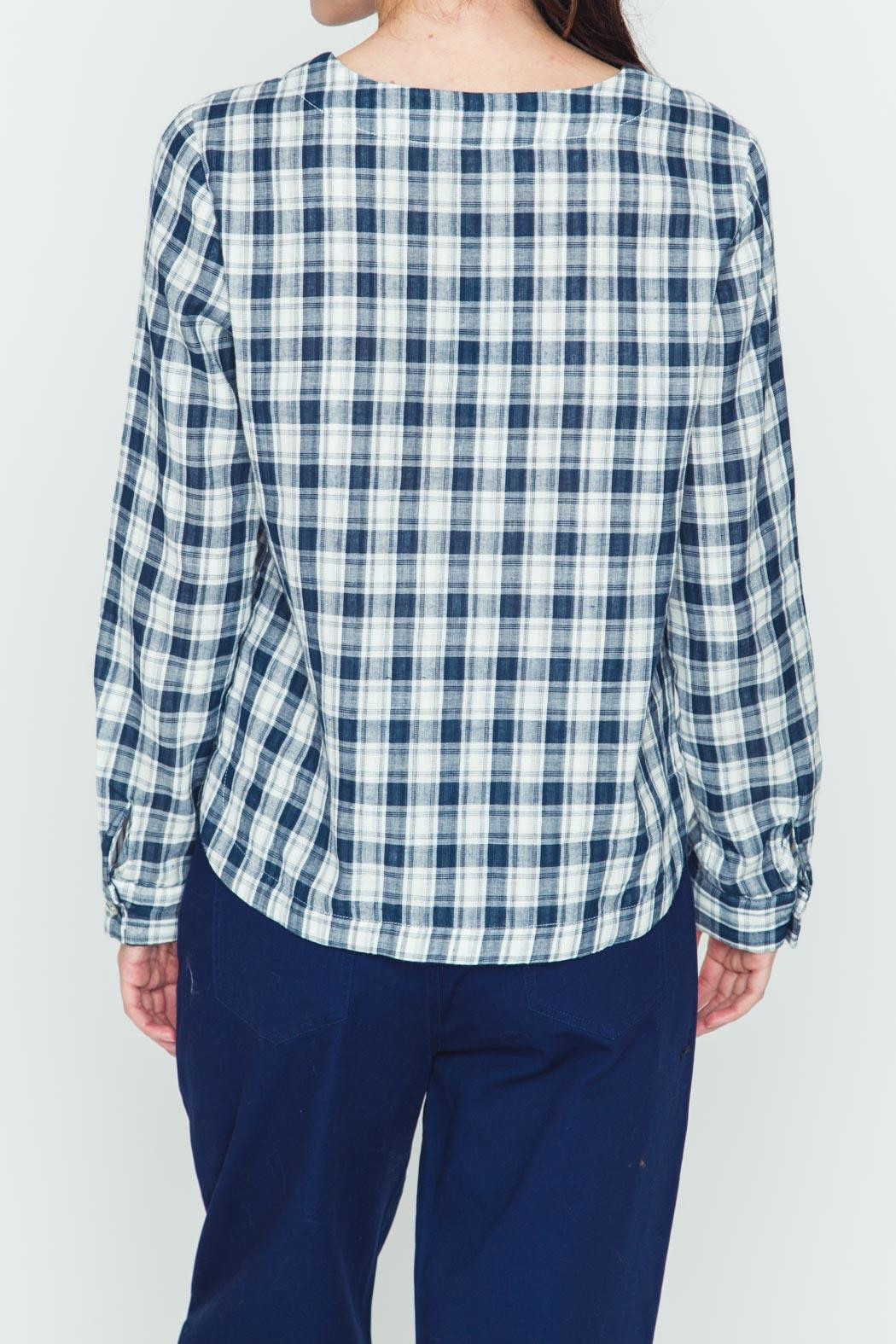 Movint Plaid Navy Shirt - Side Cropped Image