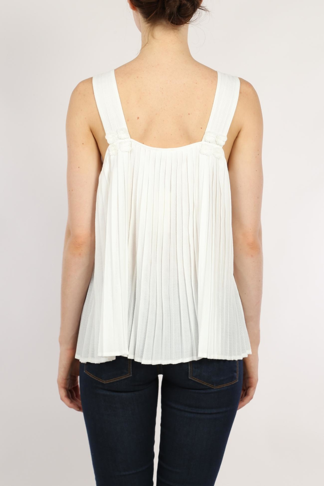 Movint White Pleated Top - Side Cropped Image