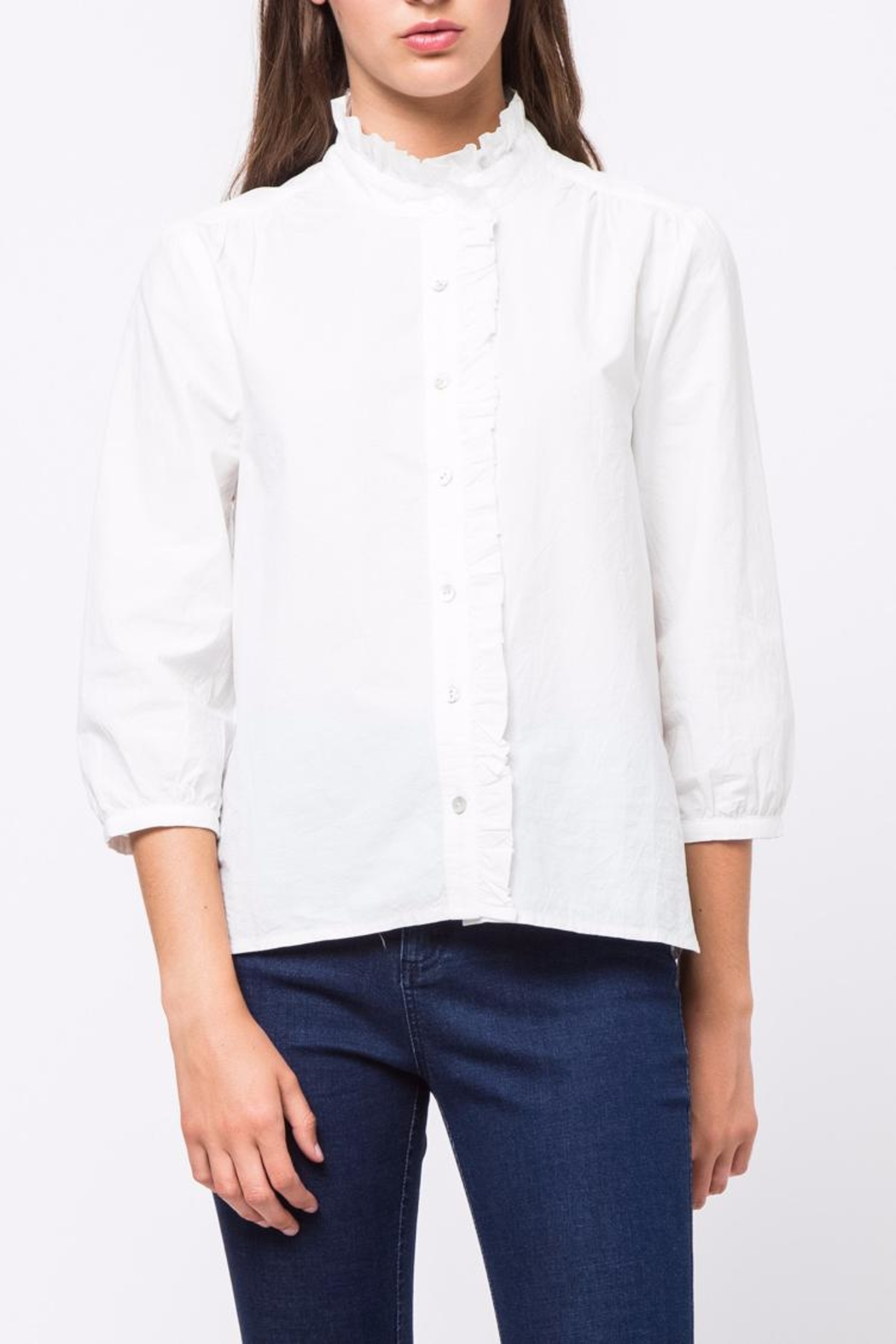Movint Pleated-Collared-Detailed Top - Front Cropped Image