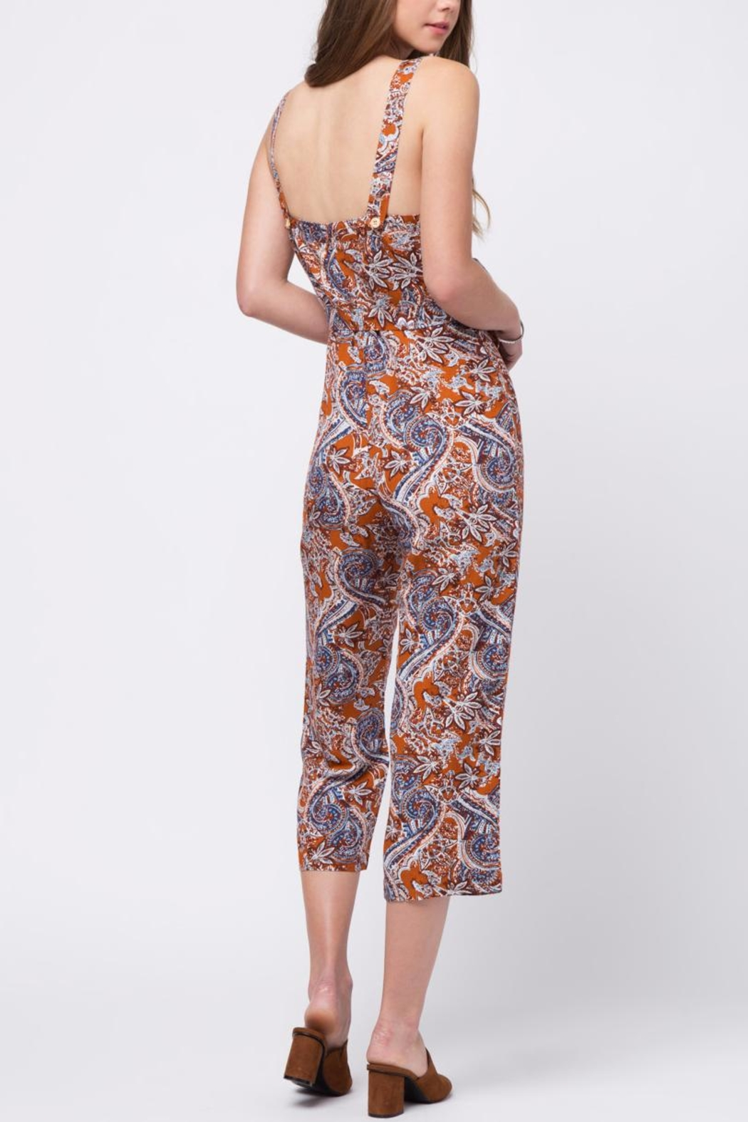 Movint Printed Jumpsuit With Belt - Front Full Image