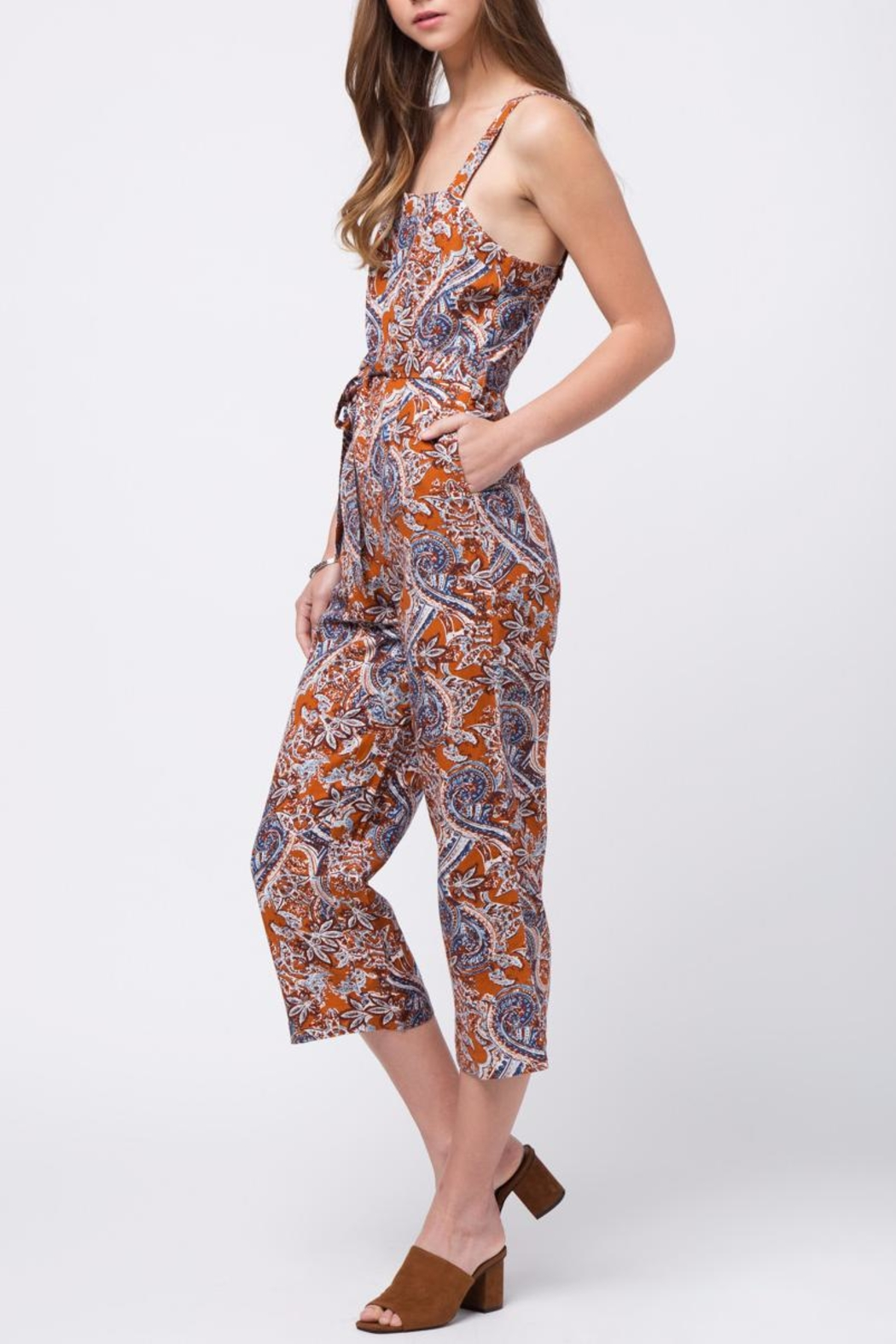 Movint Printed Jumpsuit With Belt - Side Cropped Image