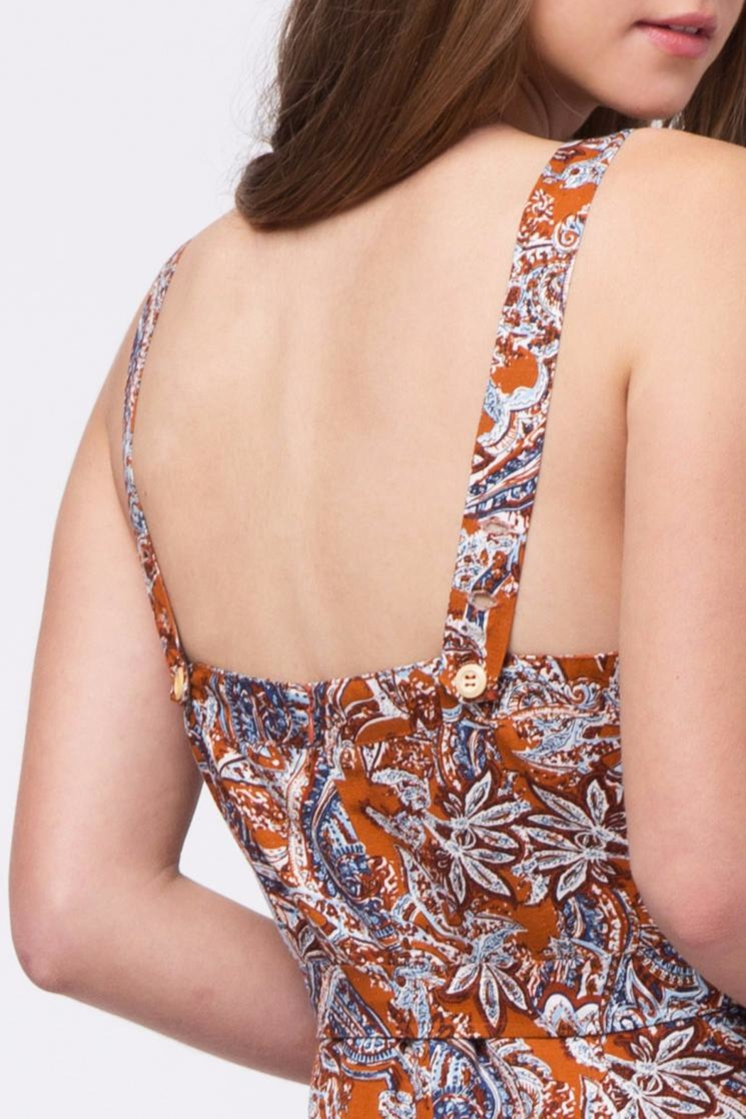 Movint Printed Jumpsuit With Belt - Back Cropped Image