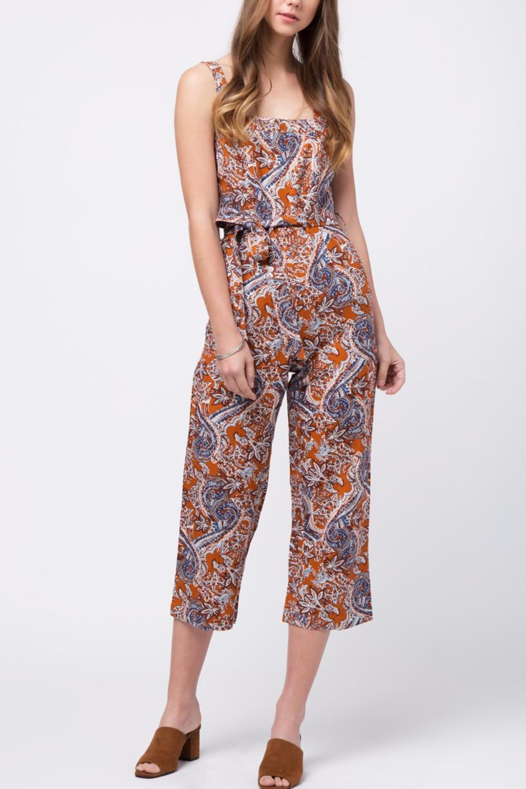 Movint Printed Jumpsuit With Belt - Main Image