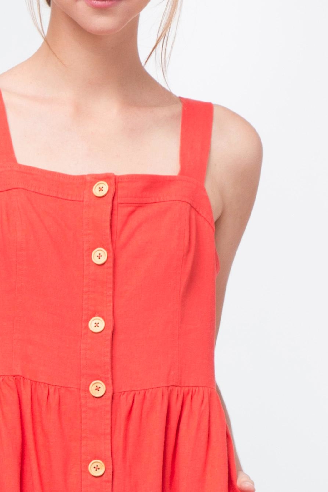 Movint Red Button Front Dress - Back Cropped Image