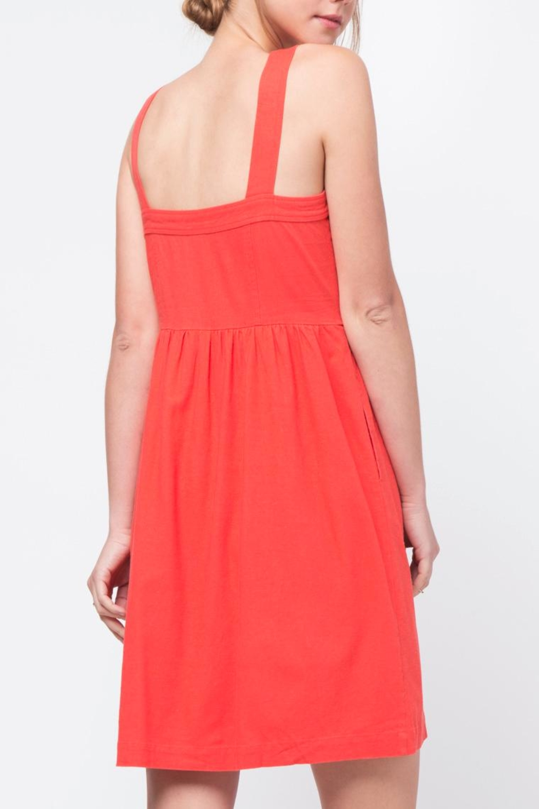 Movint Red Button Front Dress - Side Cropped Image