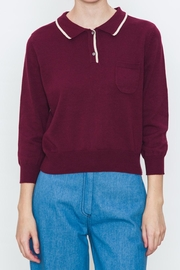 Movint Ribbed Varsity Sweater - Front cropped