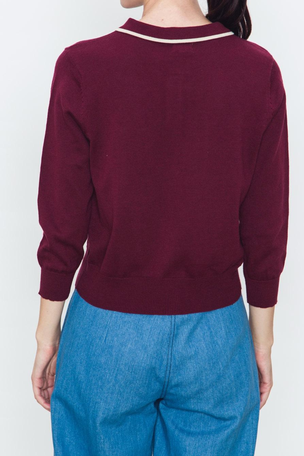 Movint Ribbed Varsity Sweater - Side Cropped Image