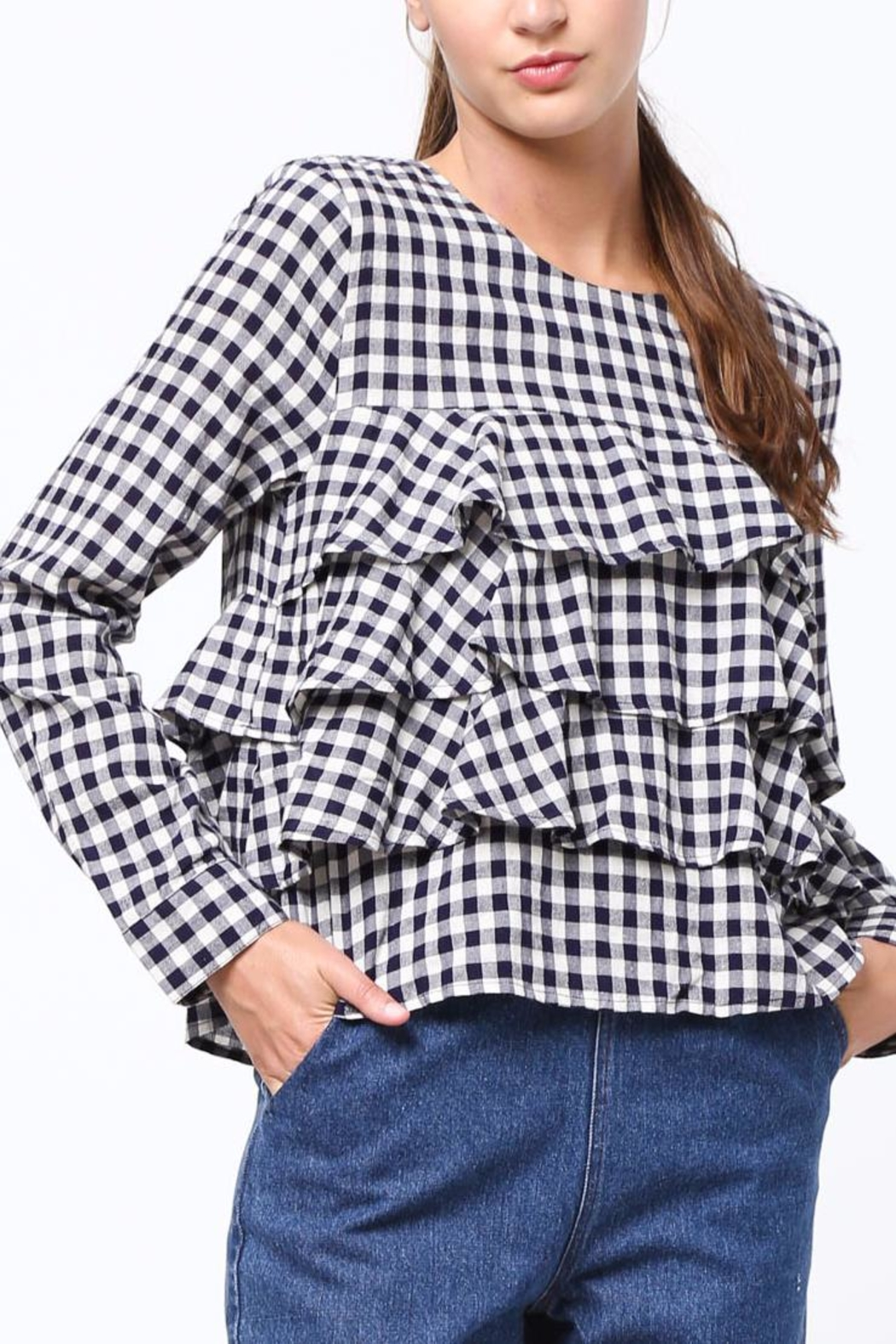 Movint Gingham Ruffle Blouse - Front Cropped Image