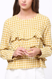 Movint Gingham Ruffle Blouse - Front cropped