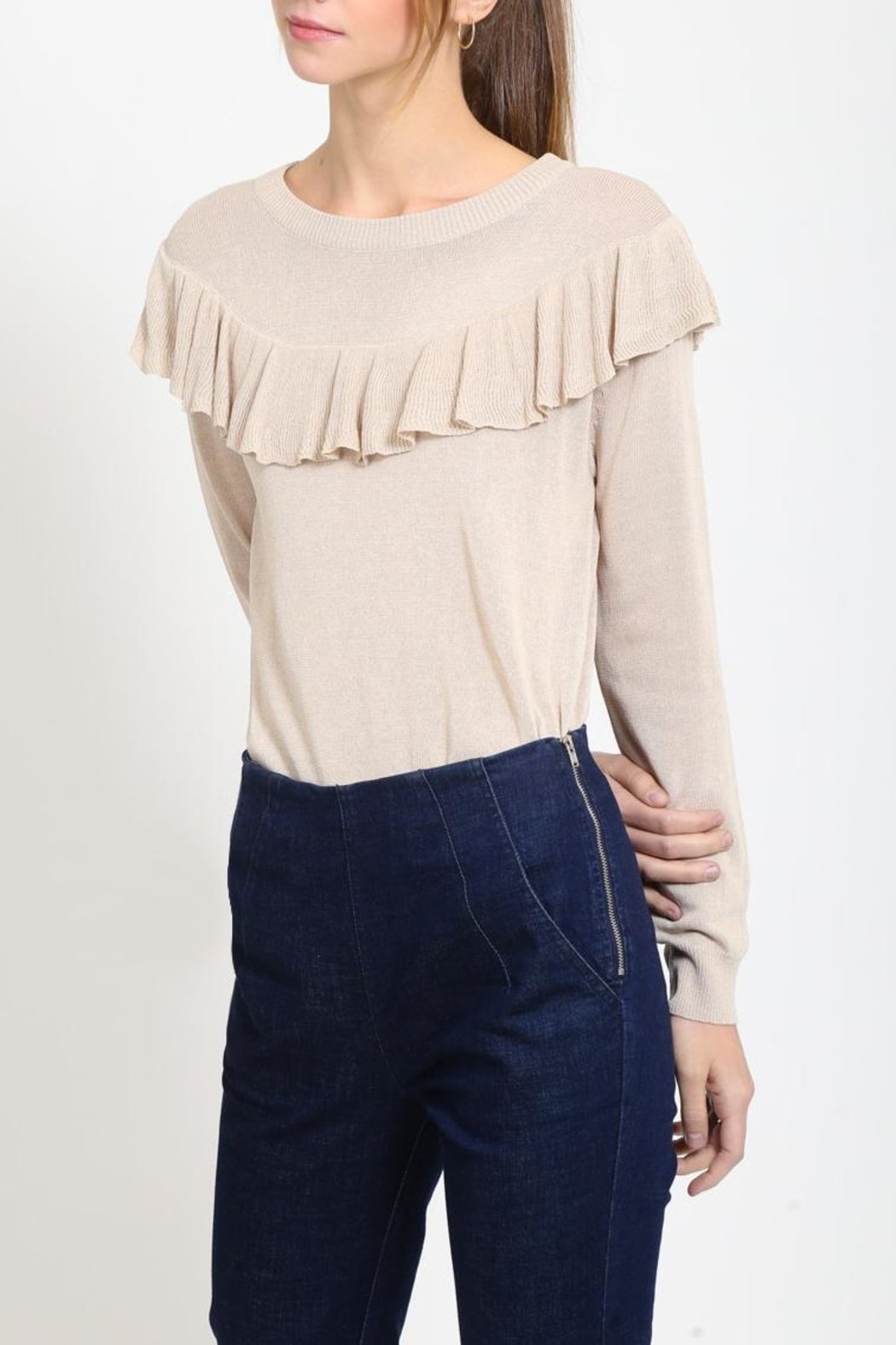 Movint Ruffle Detail Sweater - Front Full Image