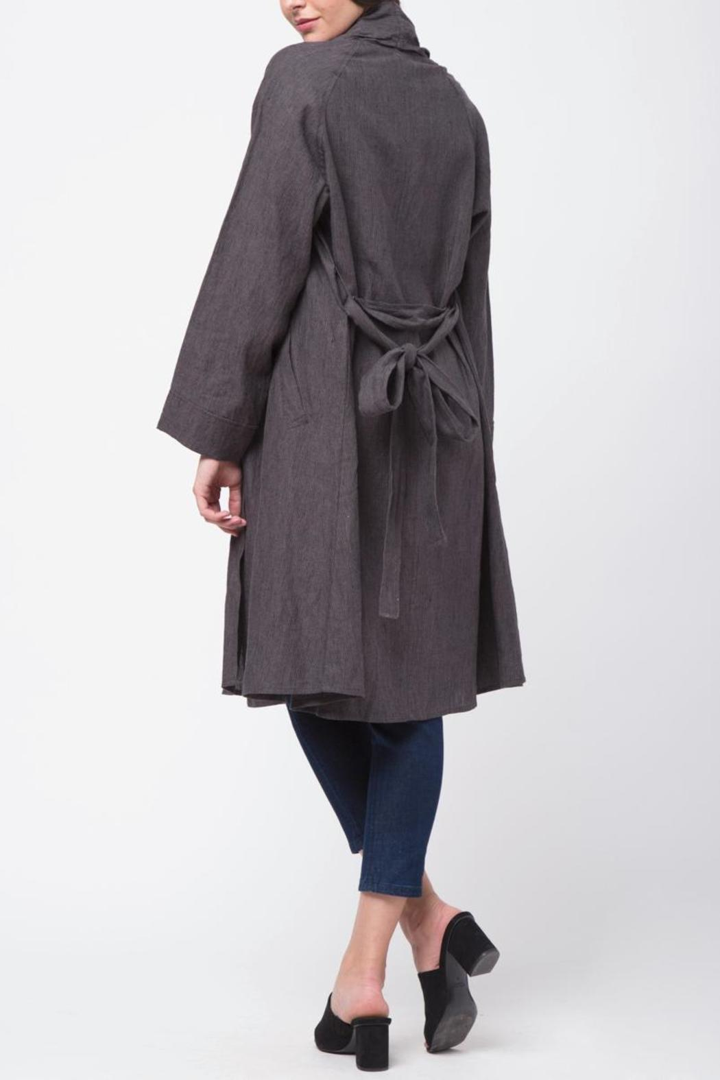 Movint Shawl Collar Linen Coat - Side Cropped Image