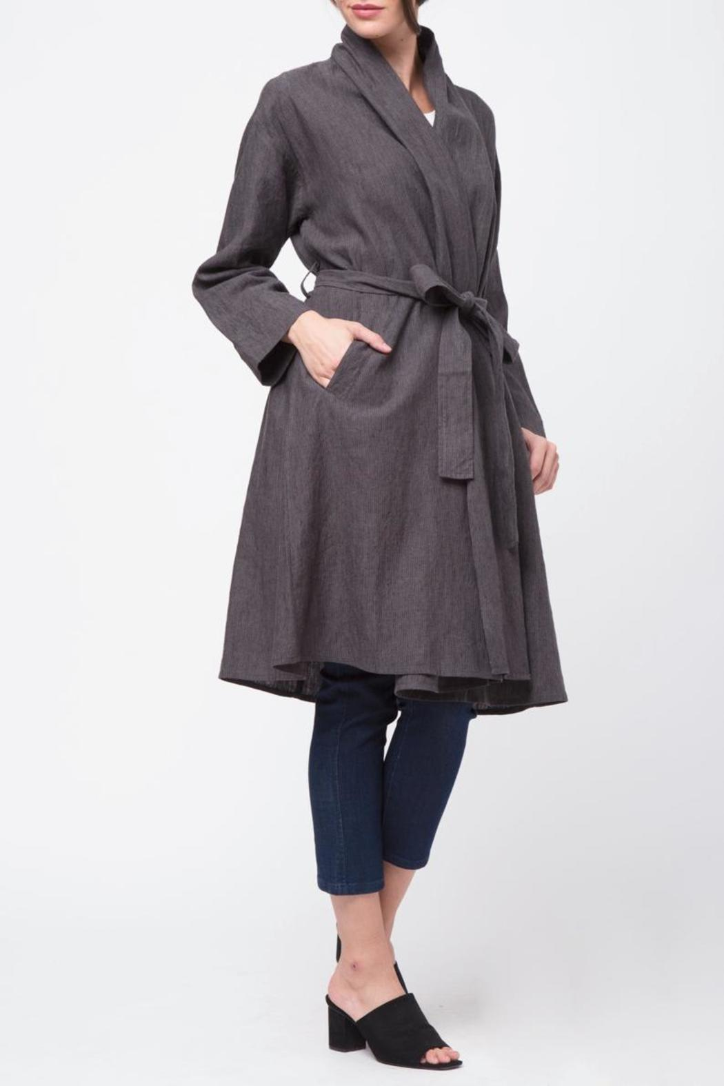 Movint Shawl Collar Linen Coat - Front Cropped Image