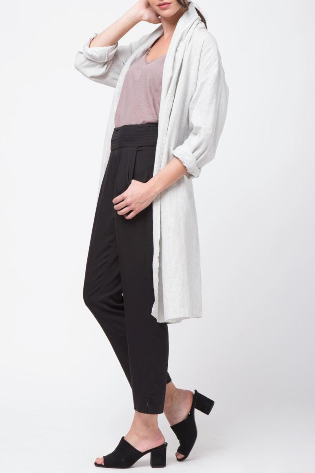Movint Shawl Collar Linen Coat - Front Full Image