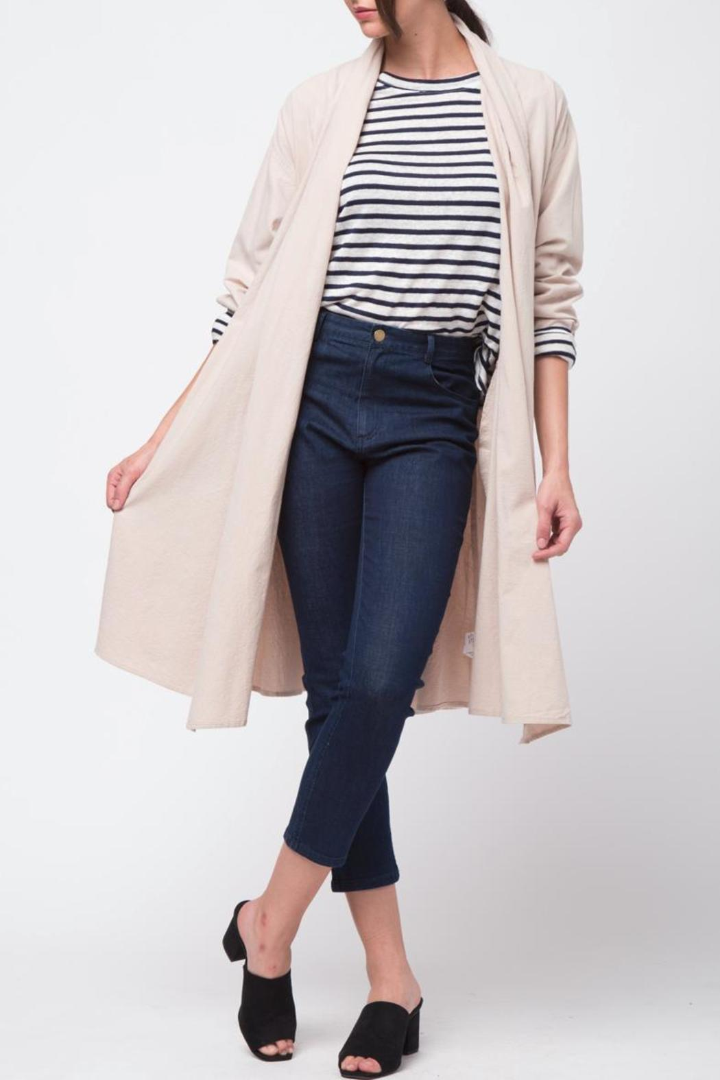Movint Shawl Collar Trench Coat - Front Full Image