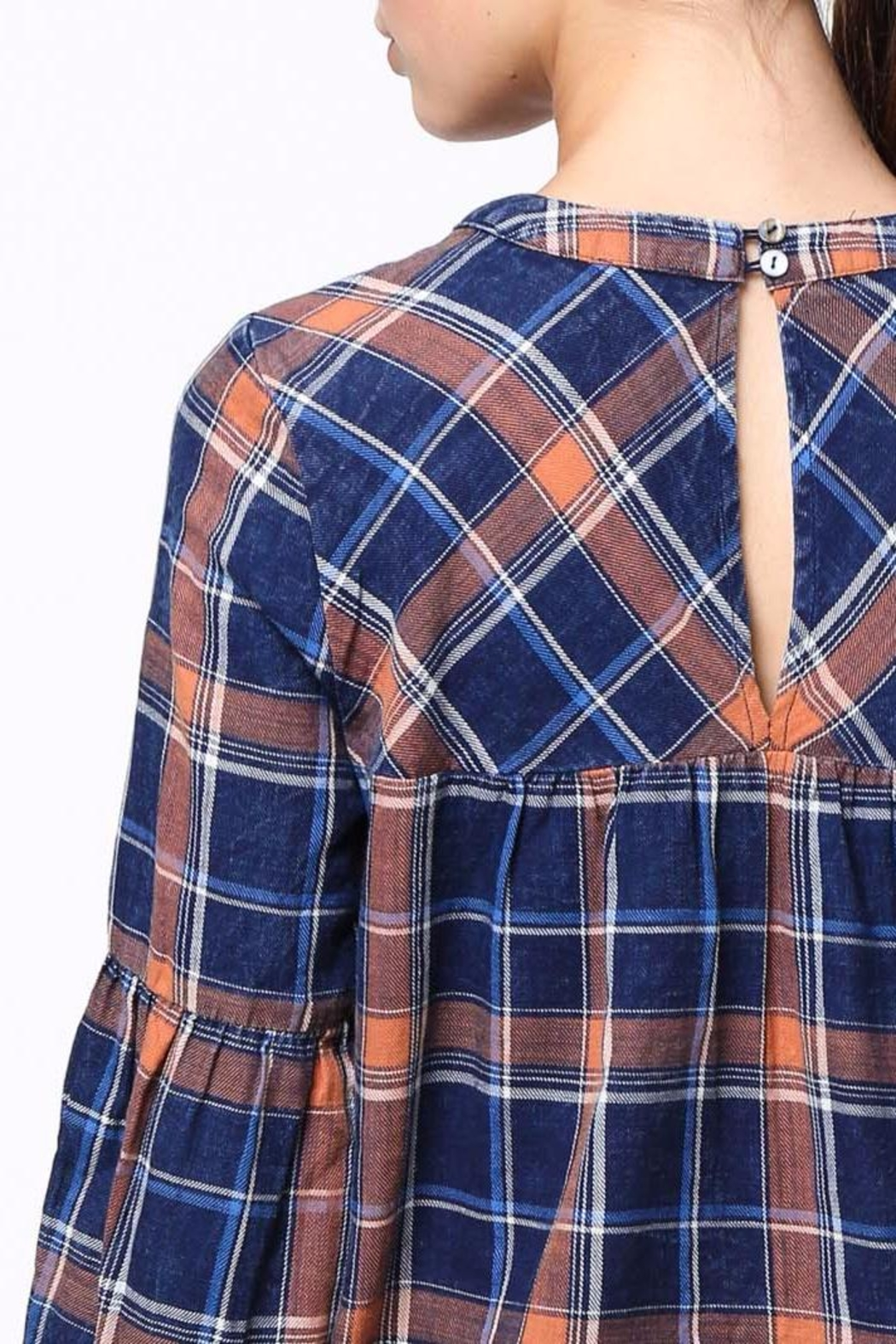 Movint Shirring Detailed Plaid Top - Back Cropped Image
