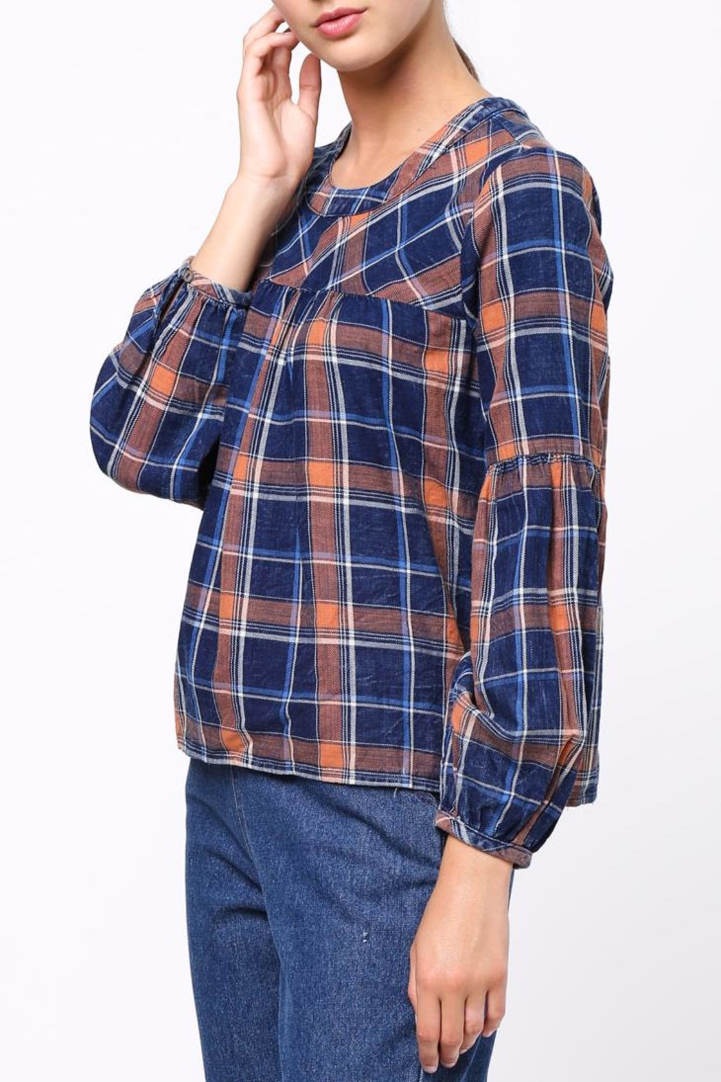 Movint Shirring Detailed Plaid Top - Side Cropped Image