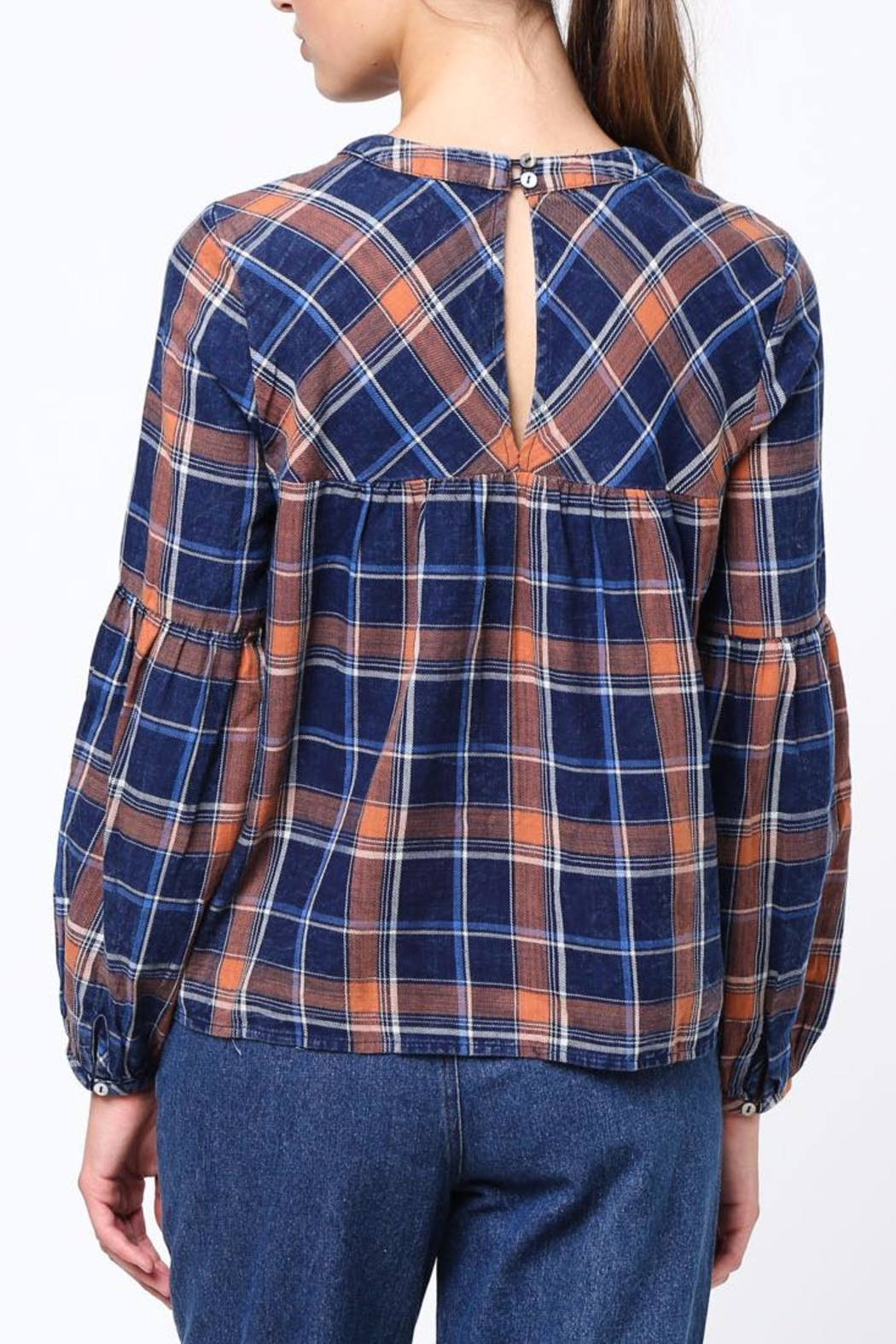 Movint Shirring Detailed Plaid Top - Front Full Image