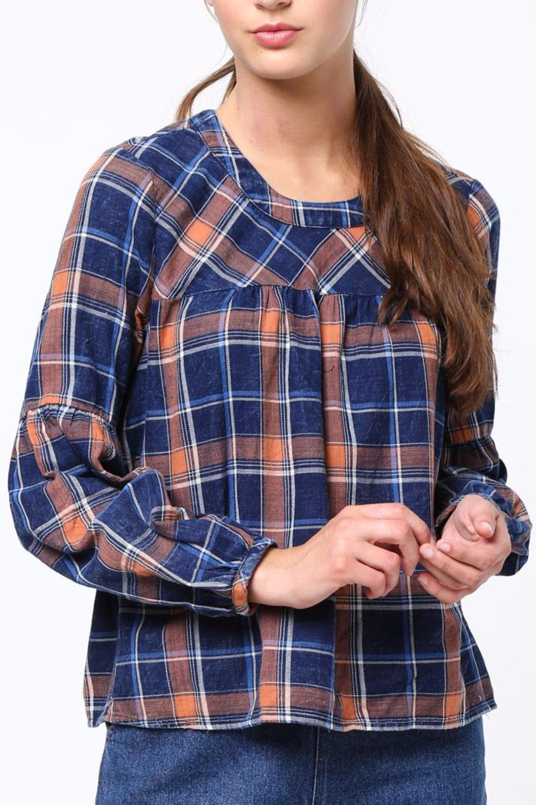 Movint Shirring Detailed Plaid Top - Main Image