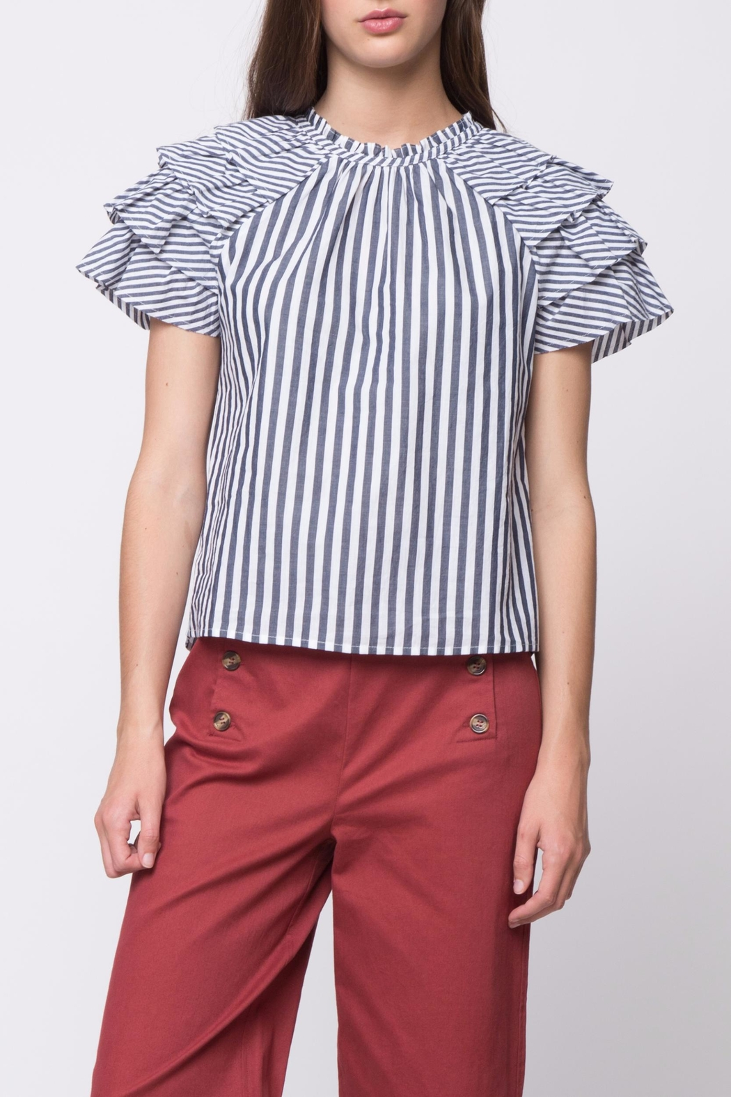 Movint Short Ruffle Sleeve Top - Front Cropped Image