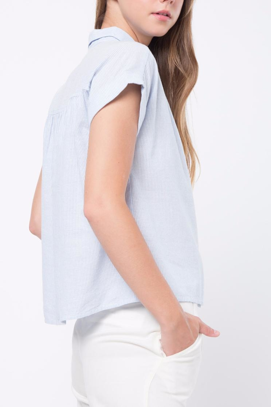 Movint Button Down Striped Shirt - Side Cropped Image