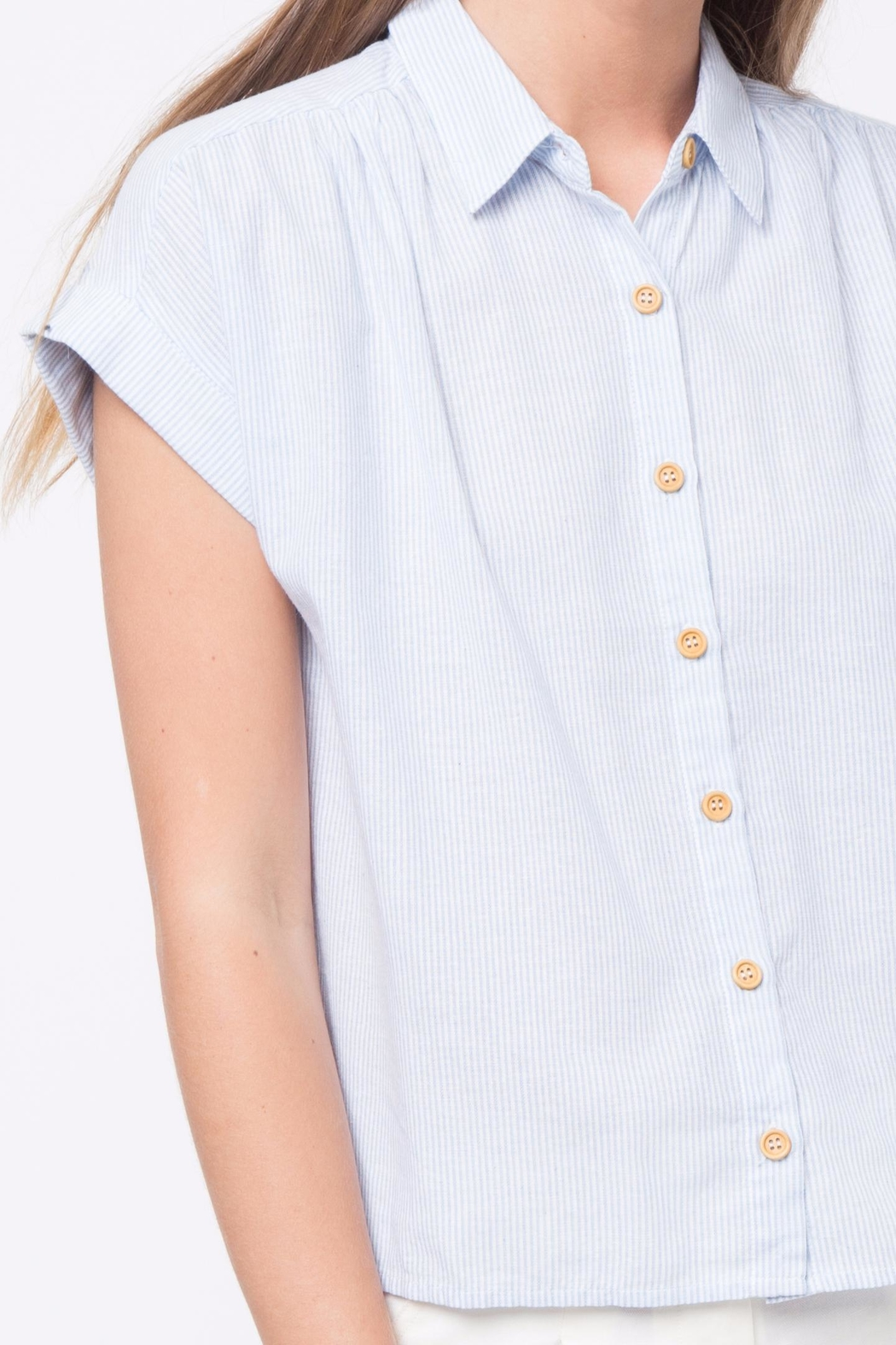 Movint Button Down Striped Shirt - Back Cropped Image