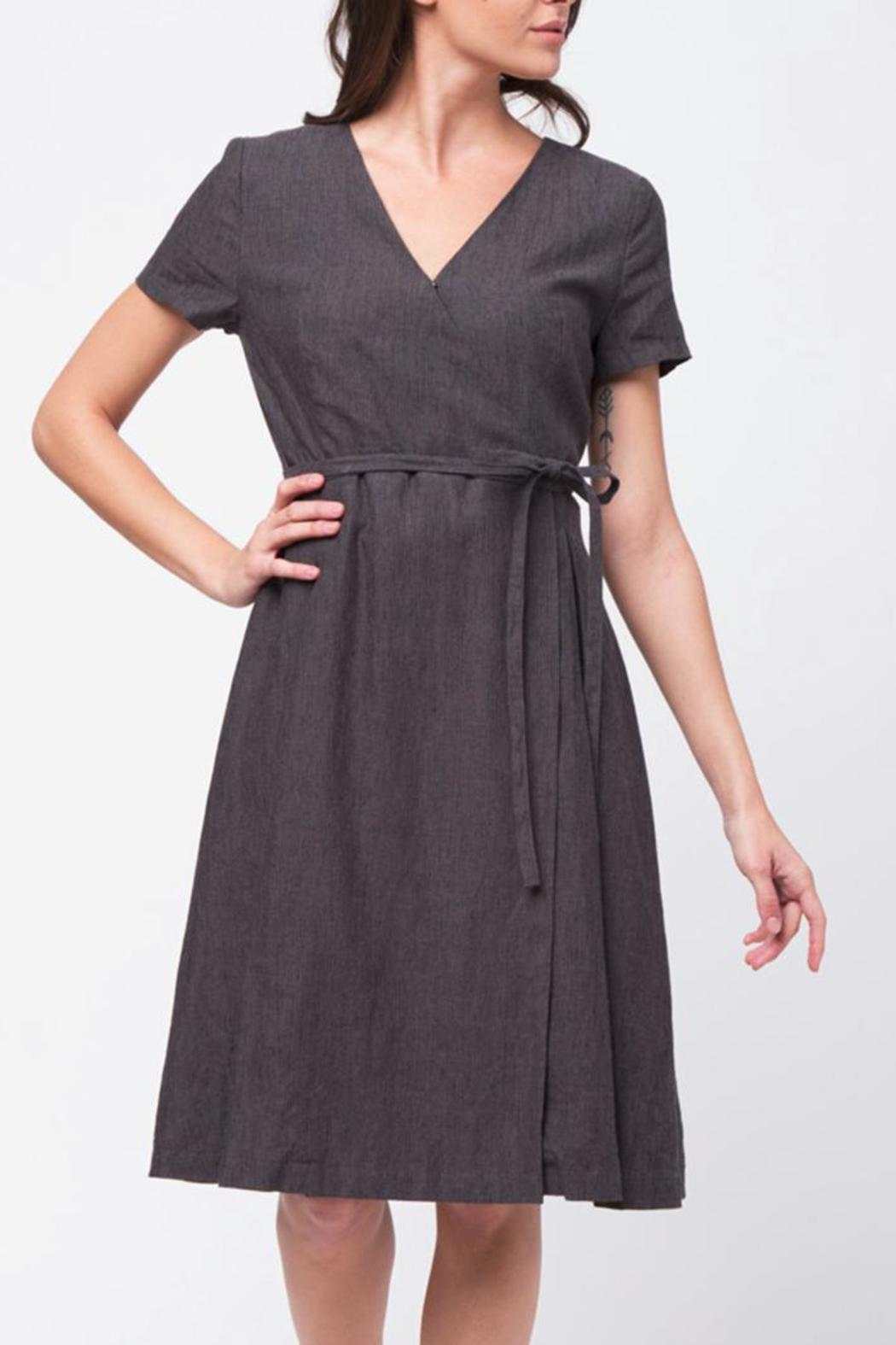 Movint Short Sleeve Wrap Dress - Front Cropped Image