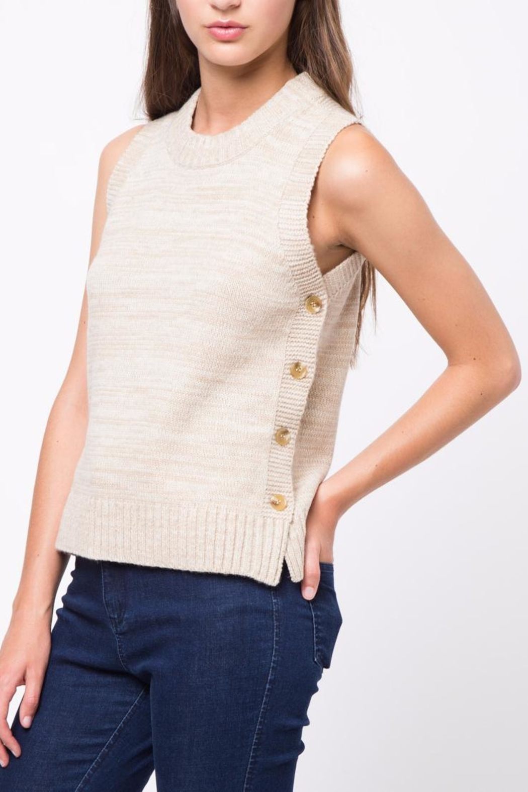 Movint Side Button Down Sweater - Side Cropped Image