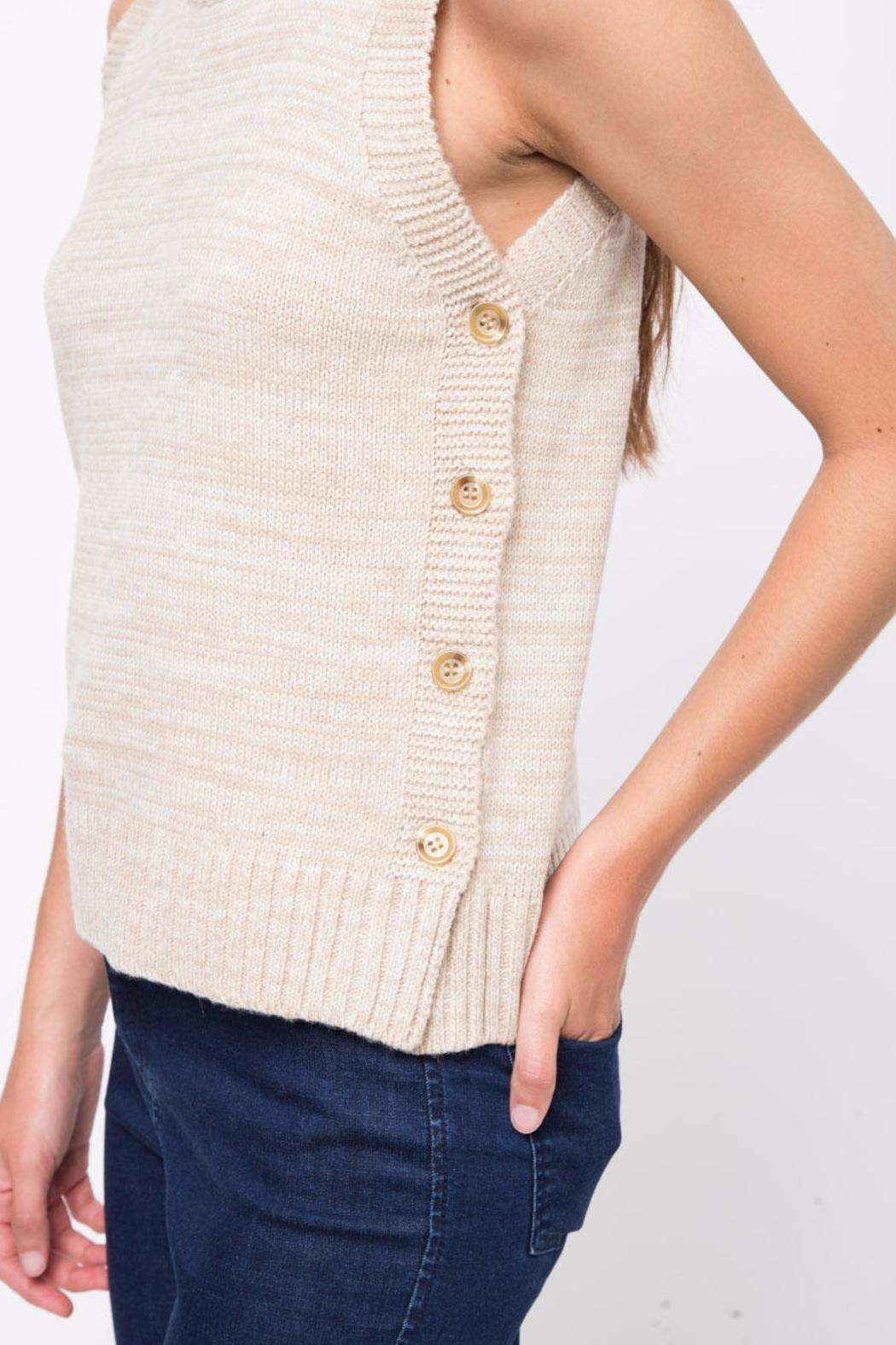 Movint Side Button Down Sweater - Back Cropped Image