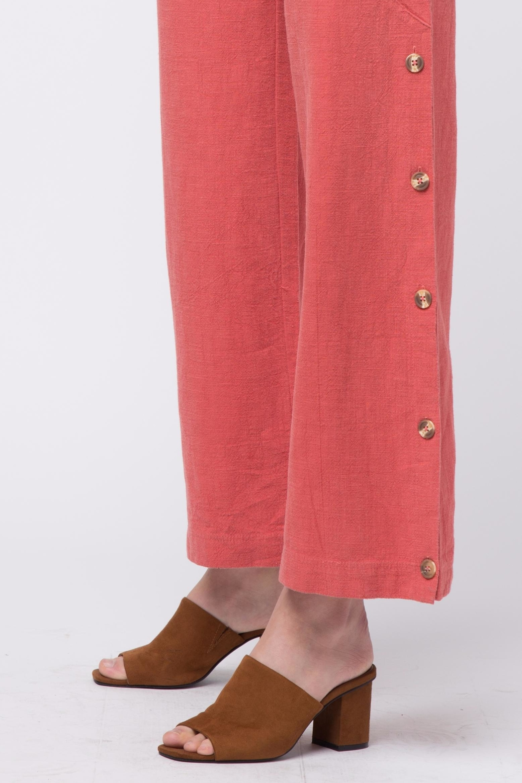 Movint Button Up Wide Pants - Back Cropped Image