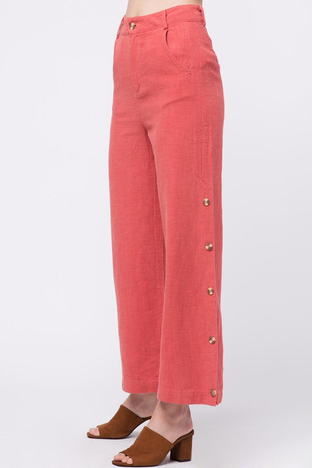 Movint Button Up Wide Pants - Side Cropped Image