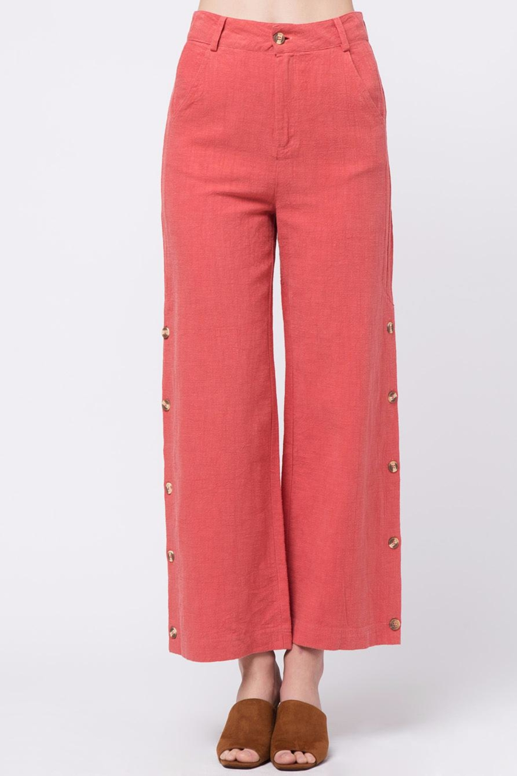Movint Button Up Wide Pants - Main Image