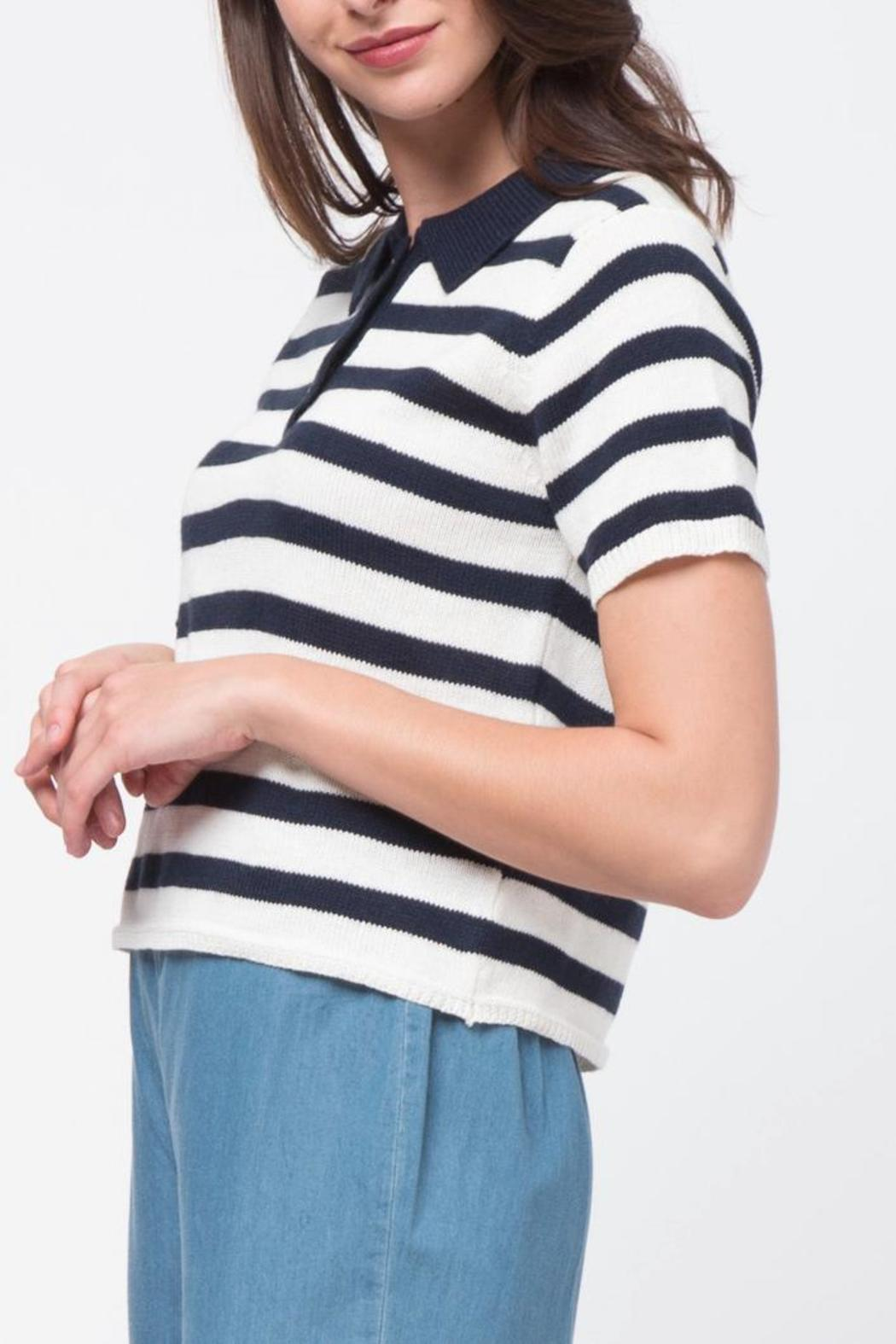 Movint Striped Crop Polo - Front Full Image