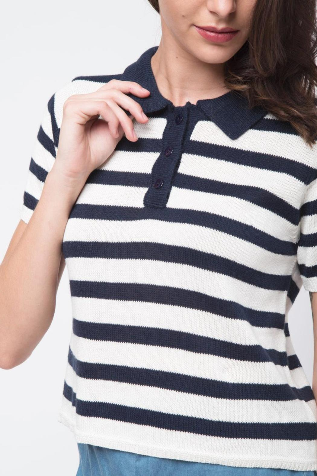 Movint Striped Crop Polo - Back Cropped Image