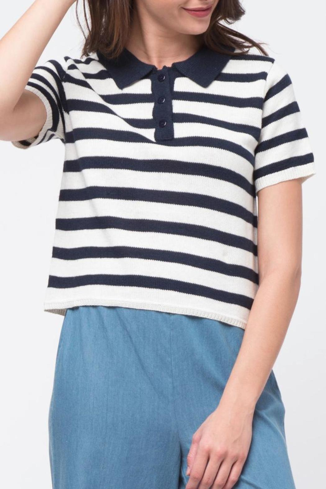 Movint Striped Crop Polo - Main Image