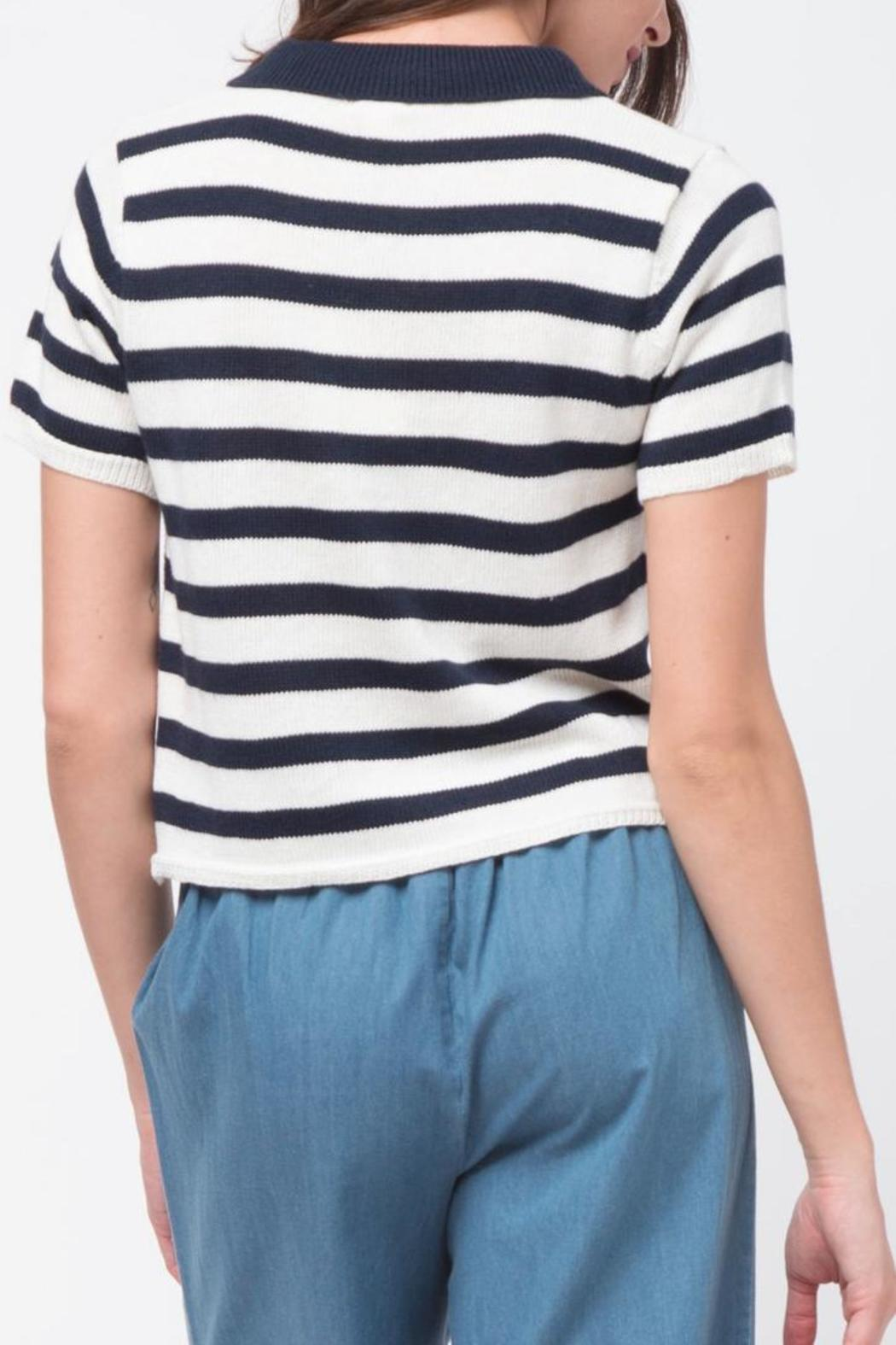 Movint Striped Crop Polo - Side Cropped Image