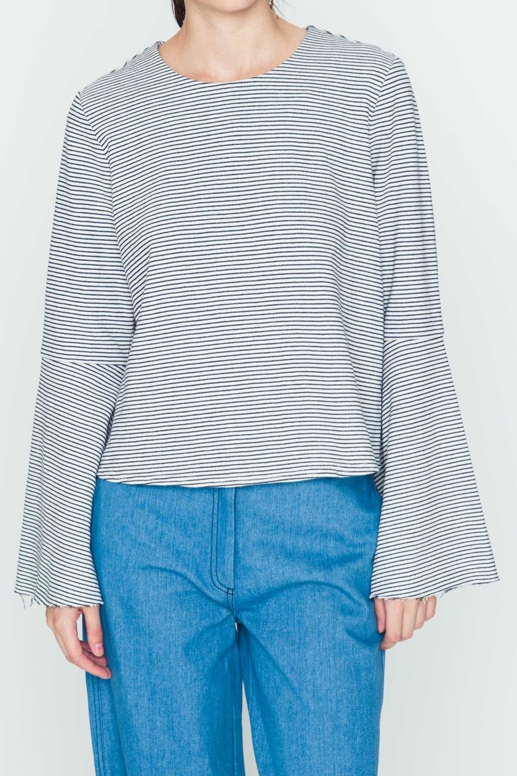 Movint Striped Flowy-Sleeve Top - Main Image