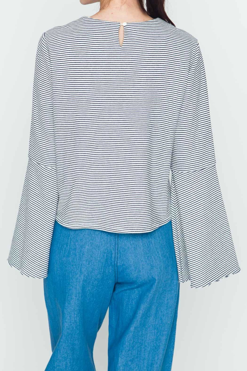 Movint Striped Flowy-Sleeve Top - Side Cropped Image
