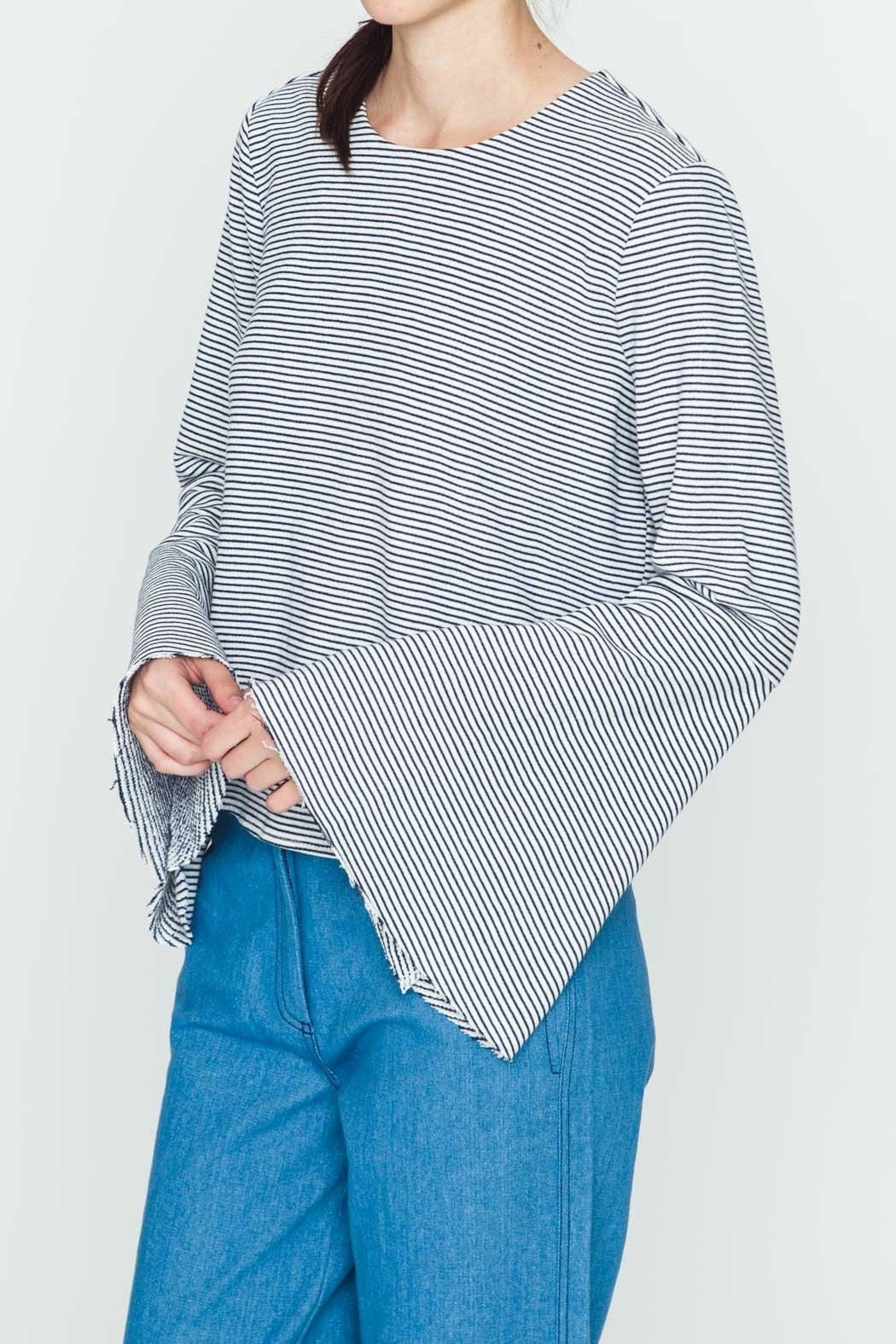 Movint Striped Flowy-Sleeve Top - Front Full Image
