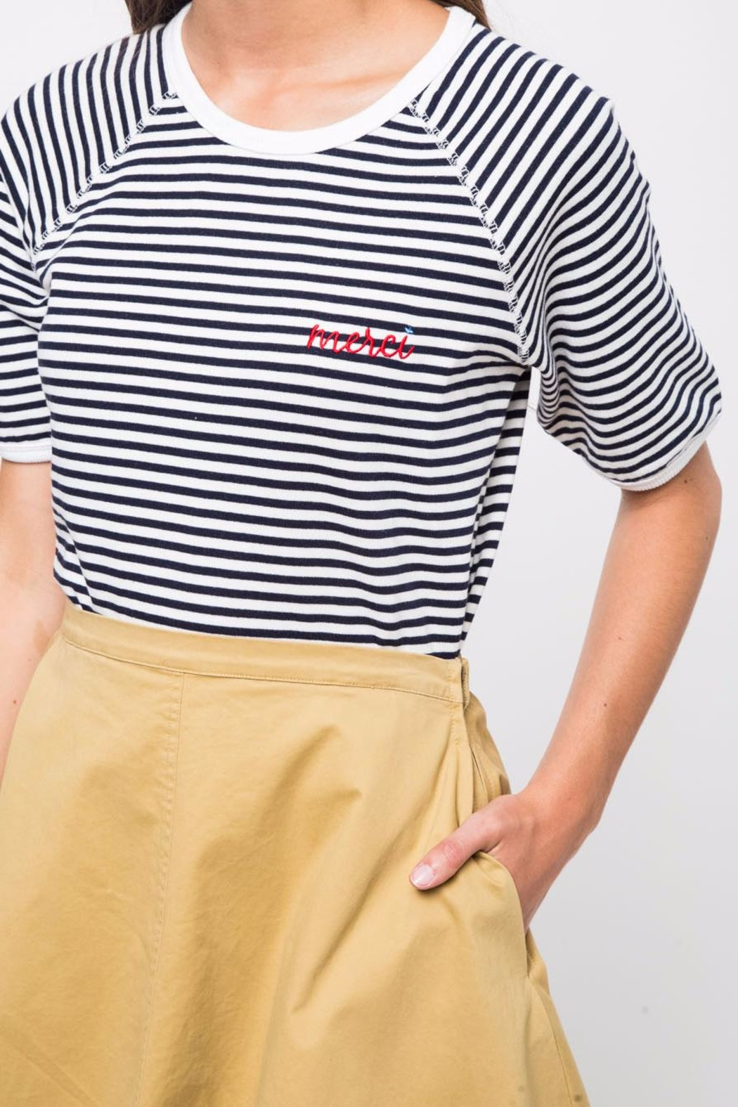 Movint Striped Half Sleeve Shirt - Front Cropped Image