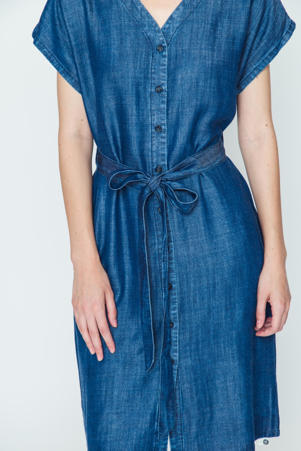 Movint Tencel Buttoned Dress - Back Cropped Image