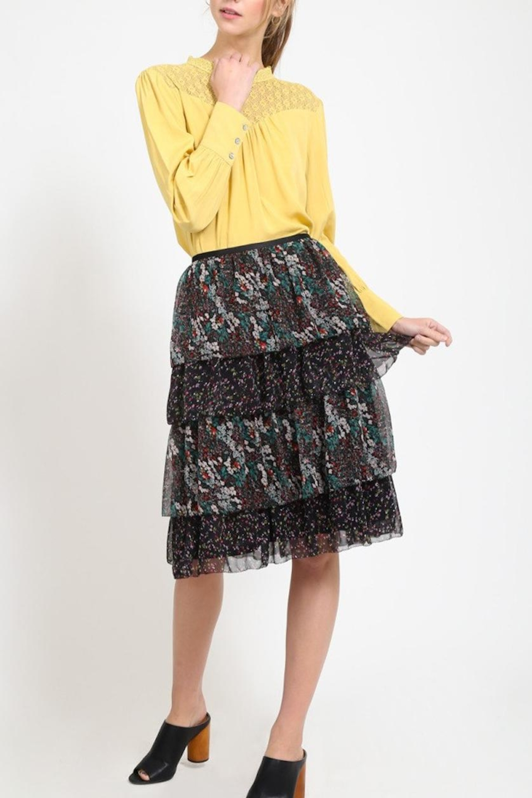 Movint Tiered Chiffon Skirt - Front Cropped Image